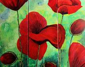 Poppies meadow, Original Acrylic painting, triptych 3 x 39x12 inches, handmade, colorfull, original piece, worldwide shipping  $349