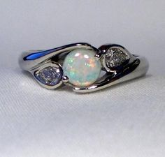 Leah Ashley Opal Ring with Pear-Shaped Diamonds