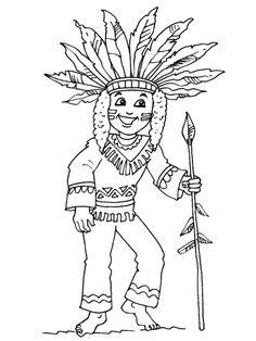 Kleurplaat kleuters, thema indianen / Petit indien