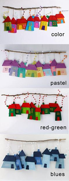 Set of eight houses ornaments. Felt House decoration for all seasons. Different and fun ornaments for your room or your kids. Very colorful. Decoration for wall hanging as well. Room decor for children. Holiday gift for everyone too. House measures aproximate: 3.5 - 5 (9 cm - 15 cm) Hanging