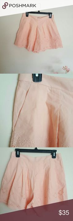 """J. Crew shorts Beautiful J.C shorts in light peach color  Fitted waist , zipper at the side.  This cutie has two side pockets  Crochet design with whide leg  Very stylish and chic  Waist 28""""  Lenght 15"""" 100% cotton and 100% cotton lining J. Crew Shorts Skorts"""