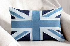 Use up your old jeans to create this upcycled Union Jack cushion in stylish shades of bleached blue, indigo and navy. Union Jack Pillow, Union Jack Cushions, Jack Flag, Bangkok Thailand, Thailand Travel, Italy Travel, Wedding Art, Upcycle, Recycle Jeans