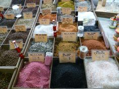 Antibes, France- Open air market. Who knew there were so many types of salts?
