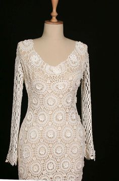 Hand Crocheted Crochet Wedding Dress Bridal by crochetbutterfly, $550.00