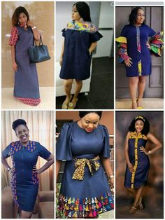Denim or jeans fabric has been around for such a long time. Lately, fashion designers have been mixing this good old fabric with the famous good old African Ankara fabric and the result has often… Modern African Print Dresses, Best African Dresses, Latest African Fashion Dresses, African Print Fashion, African Attire, Modern African Fashion, Ladies Day Dresses, Work Dresses For Women, Trendy Dresses