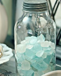 Shabby Sweet Cottage: It's Summer Time. I need sea glass. Beach Cottage Style, Coastal Cottage, Coastal Style, Coastal Decor, Coastal Homes, Coastal Living, Goin Coastal, Seaside Decor, Cottages By The Sea