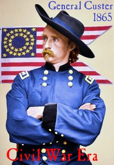 Vintage-Civil War-1865-General Custer-Colorized