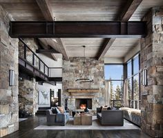 This mountain modern dwelling was designed by Centre Sky Architecture, located in the community of Moonlight Basin in Big Sky, Montana. Mountain Home Interiors, Modern Mountain Home, Mountain Living, Mountain Homes, Modern Rustic Homes, Modern Rustic Interiors, Rustic Contemporary, Modern Cabins, Big Modern Houses