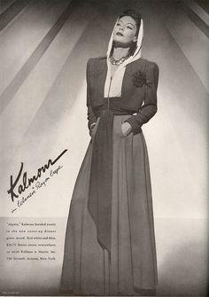 Kalmour hooded dress [1939] 30s 40s war era fashion dress gown evening lounge wear photo print ad hostess