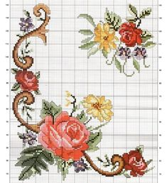 Cross Stitch Letters, Cross Stitch Rose, Cross Stitch Flowers, Cross Stitching, Cross Stitch Embroidery, Hand Embroidery, Quilt Patterns, Stitch Patterns, Victorian Christmas Ornaments