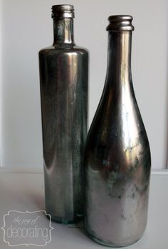 Wine Bottle DIY Crafts - DIY Z Gallerie Inspired Mercury Wine Bottles  - Projects for Lights, Decoration, Gift Ideas, Wedding, Christmas. Easy Cut Glass Ideas for Home Decor on Pinterest http://diyjoy.com/wine-bottle-crafts