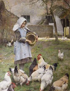'Fedding the chicken', one of the most famous painting of Walter Osborne, an Irish impressionist landscape and portrait painter. Most of his paintings featured women, children, and the elderly as well as rural scenes.