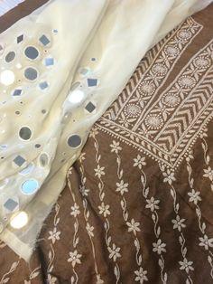 Kurti in soft Cotton tussar silk with Mirror work Embroidery Dress, Embroidery Patterns, Hand Embroidery, Machine Embroidery, Mirror Work Dress, Sewing Sleeves, Logo Design Tutorial, Salwar Designs, Crazy Patchwork