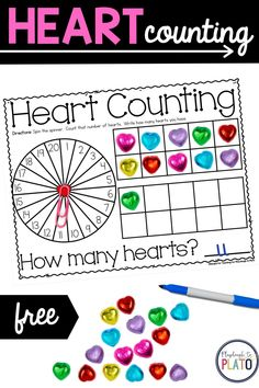 Our hearth counting activity is a good way to get your Kindergarten students practicing counting! With a fun Valentine's Day theme, students will use math manipulatives and our counting mats to get hands on learning for counting from 1-20. #kindergartenmath #mathacitvities #valentinesdayactivities #earlylearners