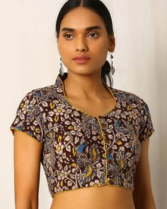 Buy Multicoloured Indie Picks Kalamkari Print Cotton Blouse