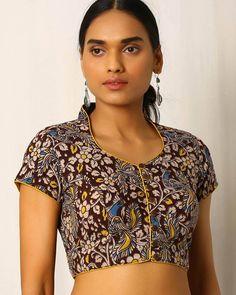 Buy Multicoloured Indie Picks Kalamkari Print Cotton Blouse Choli for Saree, Lehenga ~ Ghagra, Indian Choli Blouse fashion via Saree Jacket Designs, Sari Blouse Designs, Fancy Blouse Designs, Kurta Designs, Blouse Patterns, Choli Designs, Blouse Styles, Blouse Back Neck Designs, Kalamkari Designs