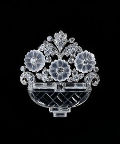 Brooch, Platinum with rock crystal, moonstone and baguette- and brilliant-cut diamonds, Cartier, New York, circa 1930
