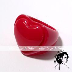 Anel Coração - Vermelho PRONTA ENTREGA Tamanho 18