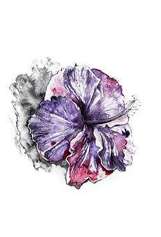 Watercolor art by Nika Akin - Ego - AlterEgo Flower Tattoo Foot, Flower Tattoo Designs, Watercolor Flowers, Watercolor Paintings, Watercolour, Acrylic Paintings, Abstract Drawings, Art Drawings, Purple Iris