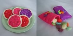 The fruit snacks were needle felted into oval shapes (the wool was dyed using Kool Aid)