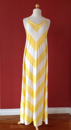 NWT! GAP Yellow Chevron Stripe THE NOW DRESS Maxi Size L NEW $74 *read #GAP #Maxi #Casual