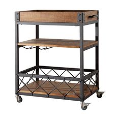 Bar Cart - Featuring a tray top and wine glass storage, this poplar wood serving cart brings industrial-chic appeal to your kitchen or home bar. Industrial Bar Cart, Vintage Industrial Furniture, Industrial Interiors, Industrial Chic, Industrial Design, Industrial Restaurant, Kitchen Industrial, Industrial Farmhouse, French Industrial