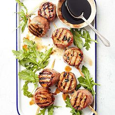 Grilled Herb Scallops with Balsamic Syrup Gremolata, an herb condiment made with chopped parsley, minced garlic, and lemon peel, is the base for this quick marinade. Be sure to adhere to the two to four hour marinating time. Leaving scallops in the acidic mixture too
