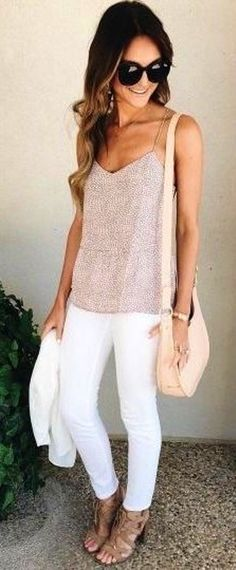 #Summer #Outfits / Beige Blouse + White Pants