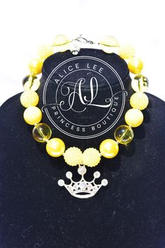 Yellow Rhinestone Princess Crown Pendant Bubble Gum Bead Necklace with Bracelet Option by AliceLeePrincess on Etsy