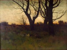 """Fall Sunset,"" Charles Warren Eaton, 1887, oil on canvas, 16 1/2 x 22 1/4"", private collection."