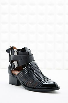 Jeffrey Campbell Cut-Out Patent Toe Boots in Black
