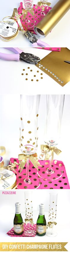 Tutorial: #DIY How to make Gold Confetti Champagne Flutes for New Year's Eve