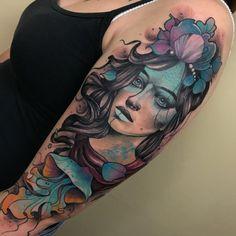 Lines are healed. Mermaid Sleeve Tattoos, Dragon Sleeve Tattoos, Sleeve Tattoos For Women, Gypsy Tattoo Sleeve, Head Tattoos, Body Art Tattoos, Arabic Tattoos, Gypsy Girl Tattoos, Aztecas Art