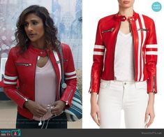 2a2922e65 Emet s red rider jacket on I Feel Bad. Outfit Details  https