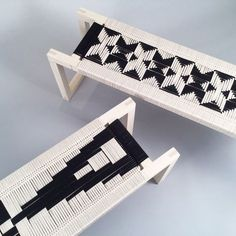 Peg Woodworking's pieces feature wooden or metal frames that are treated to handwoven, geometric designs that form the stool or chair's seat.