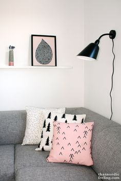 Pillows - nordic (love the grey couch with white walks-great idea if renting)