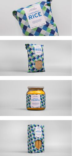 "Via XX Settembre; by Studio Fusentast, Norway; ""Via XX Settembre is a family run business from the harbour town of Genova, making and distributing organic food. A pattern with a distinct color scheme inspired by the sea is consistently used on all packaging, making it easy to recognise. The labels are kept simple, yet informative, and the typefaces chosen are inspired by Italian culture. The crest used in the logo and on the packaging is to emphasize the family aspect."""