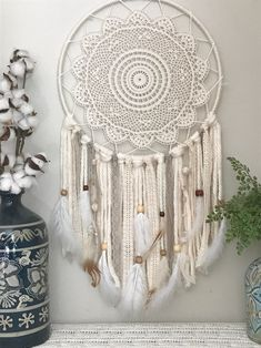 Large Ivory and Neutral Dream Catcher Giant dream catcher, Large Dream Catcher, Ivory wall hanging, Neutral dream catcher, Boho Nursery D Grand Dream Catcher, Dream Catcher Boho, Doily Dream Catchers, Boho Dekor, Diy Tumblr, Boho Nursery, Nursery Decor, Boho Wedding Decorations, Home Wall Decor