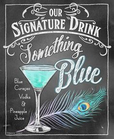 Signature Drink Signs – Chalkboard style Prints for Bar Decor at Weddings, Rehearsals, Parties Source by Blue Drinks, Blue Cocktails, Cocktail Drinks, Party Drinks Alcohol, Alcoholic Drinks, Beverages, Wedding Signs, Wedding Day, Wedding Poses