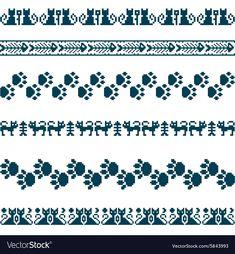Knitted seamless pattern animals cats borders set vector image on VectorStock Cross Stitch Bookmarks, Cross Stitch Borders, Cross Stitch Art, Cross Stitch Alphabet, Modern Cross Stitch Patterns, Cross Stitch Designs, Cross Stitch Embroidery, Fair Isle Knitting Patterns, Knitting Charts