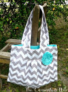 The Crystal Gray Chevron Purse with Aqua by TheCarpentersWife, $43.00