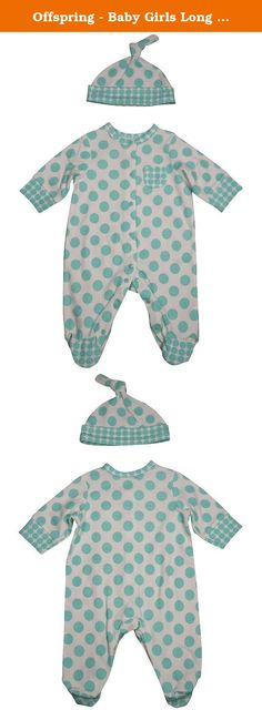 Offspring - Baby Girls Long Sleeve Coverall and Hat, Aqua, White 32179-6Months. Offspring - Newborn and Infant Girls Long Sleeve Coverall and Hat, Aqua, White, Footed, Front Snaps, Crotch Snaps, Large Dot Print, Matching Hat, 100% Cotton, Made in China, #32179 32-179.