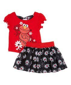 Another great find on #zulily! Red Sesame Street Elmo Floral Tee & Skirt - Toddler #zulilyfinds