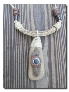 Stone and Driftwood Pendant #Handmade Organic Necklaces