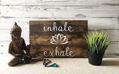 Yoga quotes wall art / Inhale exhale / Yoga studio decor /