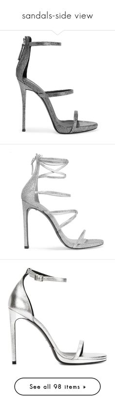 """""""sandals-side view"""" by eva-jez ❤ liked on Polyvore featuring shoes, sandals, heels, giuseppe zanotti, schuhe, silver, metallic sandals, metallic heeled sandals, high heels sandals and metallic platform sandals"""
