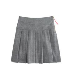A fall-to-winter must-have: our classic schoolgirl skirt. We finished it with an exposed gold side zip and a contrast-color pull-tab for a touch of cool-girl chic. <ul><li>Pleated skirt.</li><li>Falls above knee.</li><li>Wool/poly/viscose with a hint of stretch.</li><li>Internal adjustable elastic waistband.</li><li>Dry clean.</li><li>Import.</li></ul>
