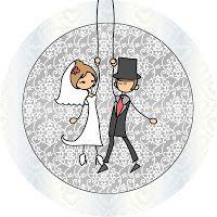 Imprimés Thème Amoureux : http://fazendoanossafesta.com.br/2012/01/casamento-noivinhos-palito-kit-completo-com-molduras-para-convites-rotulos-para-guloseimas-lembrancinhas-e-imagens.html/
