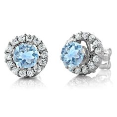Pretty Jewellery 2.50 Ct Round Aquamarine 925 Silver Stud Earrings with Jackets. Metal : 925 Sterling Silver, Metal Finish : Polished. Main Stone : Aquamarine , Main Stone Colour : Aqua. Stone Shape : Round. Finding : Screw Back , Gender : Womens. Style : Solitaire Stud Earring.