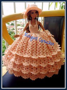 #Cléa5 #Crochet #Vestido #Dress #Barbie #Doll #Muñeca #chapéu #Sombrero #Hat #RaquelGaucha